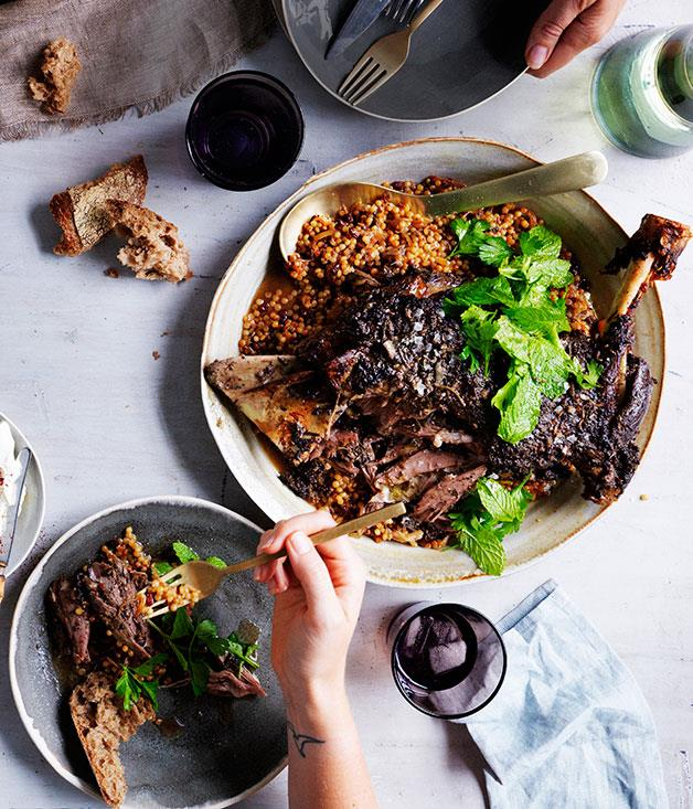"""**[Eight-hour lamb shoulder with Israeli couscous and labne](https://www.gourmettraveller.com.au/recipes/browse-all/eight-hour-lamb-shoulder-with-israeli-couscous-and-labne-11993 target=""""_blank"""")**"""