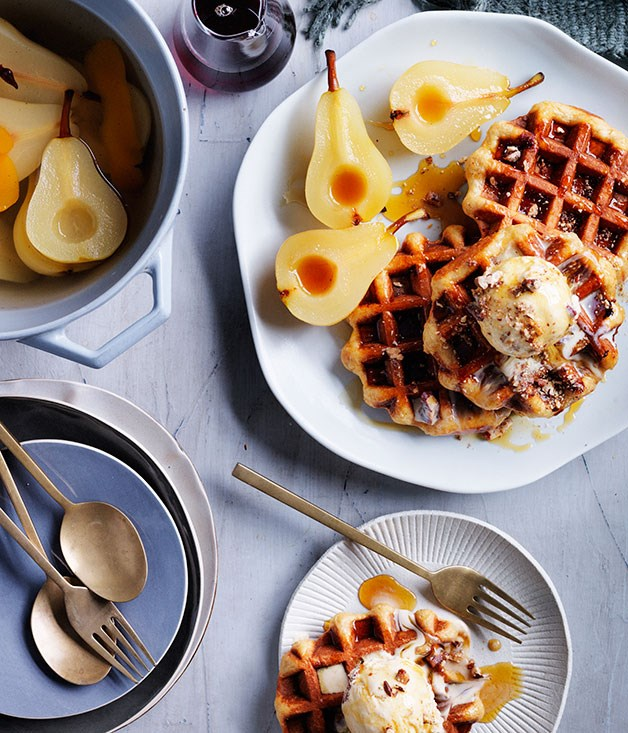 Overnight waffles, brown butter pecan ice-cream and spiced pears