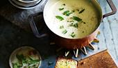A classic cauliflower soup with cheddar toast