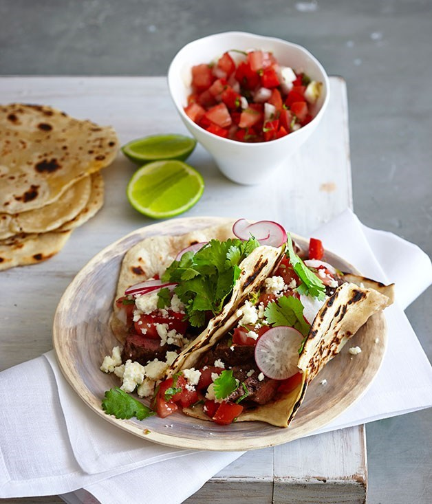 **Carne asado tacos** Got your money on Mexico? Say it with these tacos.