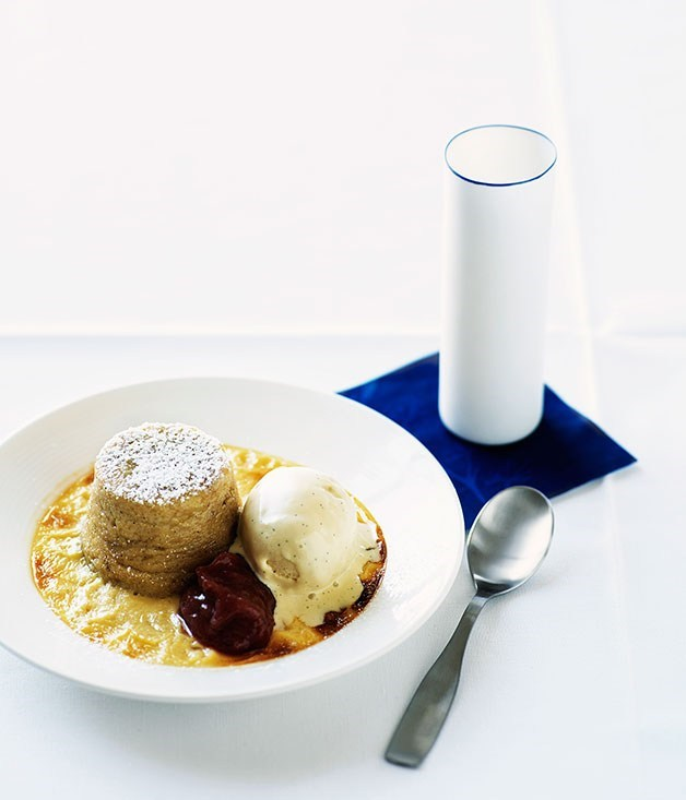 **Double-baked rhubarb and vanilla souffles**