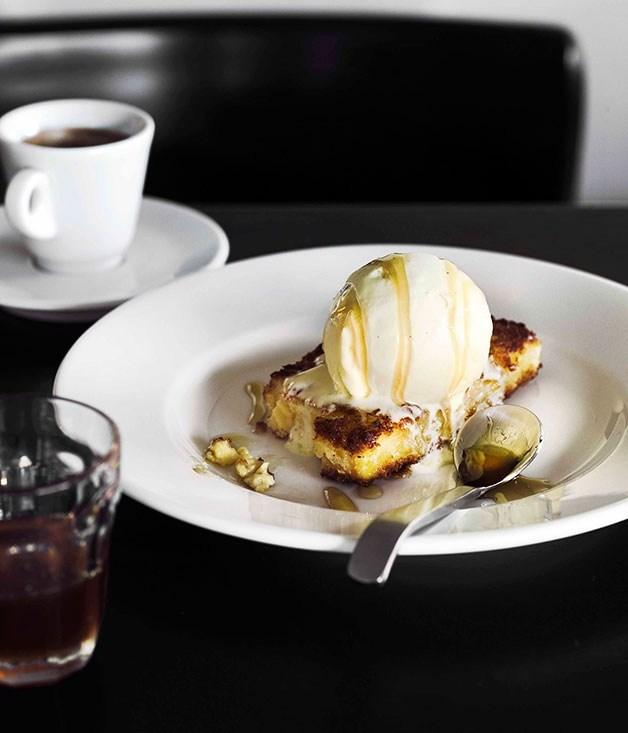 **Fried custard with vanilla ice-cream and honey**