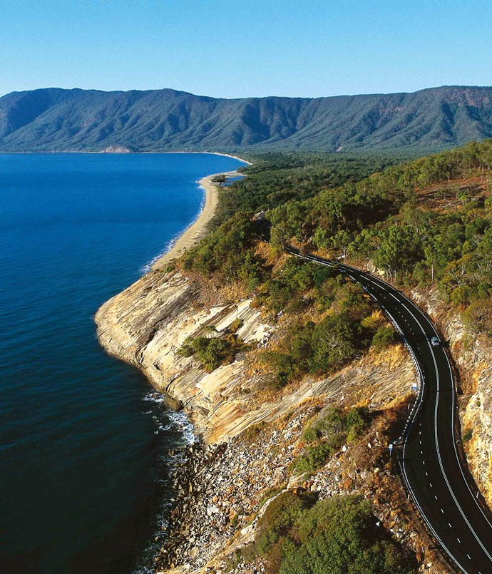 **Cairns: Captain Cook Highway** The [Captain Cook Highway](http://www.cairns-greatbarrierreef.org.au) between Cairns and Mossman is one of the country's most beautiful stretches of road. It rides the coastline for most of the 67km ‑ the views of the rainforest spilling down the mountain to meet the sea in a necklace of deserted white beaches are magnificent.