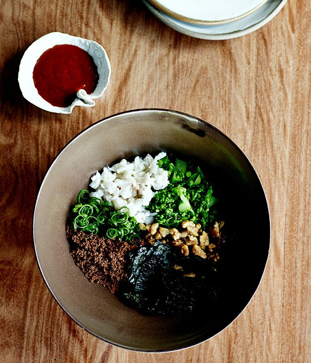 "**[Bibimbap](https://www.gourmettraveller.com.au/recipes/chefs-recipes/bibimbap-8074|target=""_blank"")**"