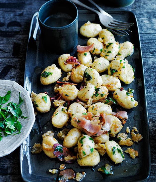 "**[Potato dumplings with crisp breadcrumbs and speck](https://www.gourmettraveller.com.au/recipes/browse-all/potato-dumplings-with-crisp-breadcrumbs-and-speck-11994|target=""_blank"")**"