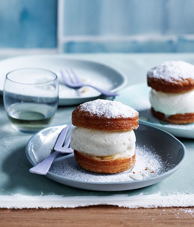 "**[Vanilla puffs with milk ice-cream](https://www.gourmettraveller.com.au/recipes/browse-all/vanilla-puffs-with-milk-ice-cream-11995|target=""_blank"")**"