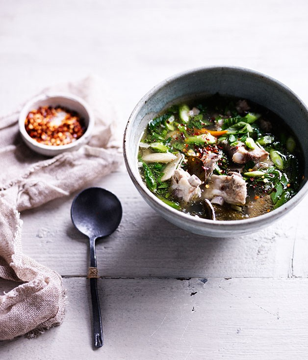 "**[Hot and sour pork rib soup](https://www.gourmettraveller.com.au/recipes/browse-all/hot-and-sour-pork-rib-soup-11996|target=""_blank"")**"