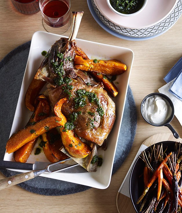 "**[Slow-roasted lamb shoulder with pumpkin, carrots, cumin yoghurt and mint salsa](https://www.gourmettraveller.com.au/recipes/chefs-recipes/slow-roasted-lamb-shoulder-with-pumpkin-carrots-cumin-yoghurt-and-mint-salsa-9177|target=""_blank"")**"