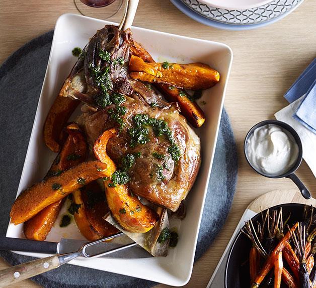 Slow-roasted lamb shoulder with pumpkin, carrots, cumin yoghurt and mint salsa