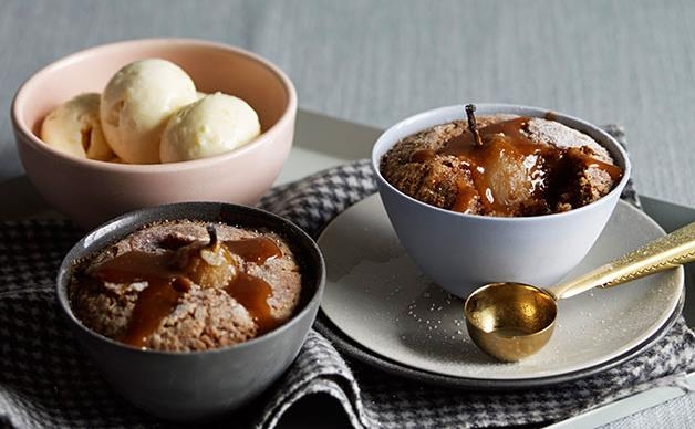 Pear, pecan and caramel puddings