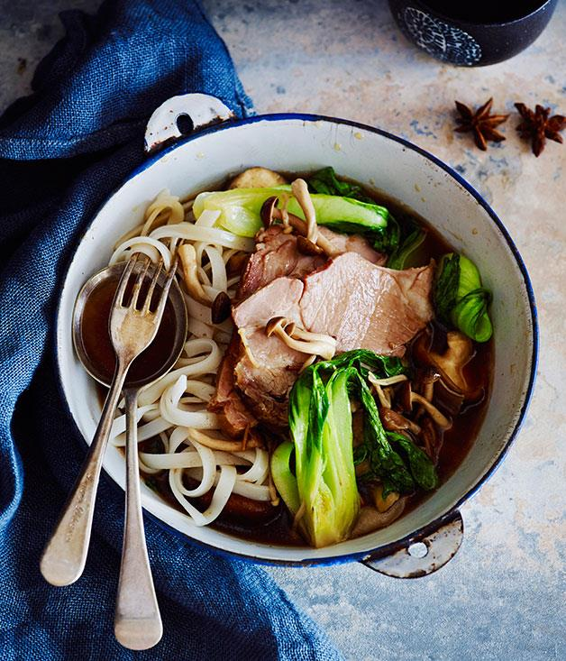 "**[Soy pork with mushrooms](https://www.gourmettraveller.com.au/recipes/browse-all/soy-pork-with-mushrooms-12002|target=""_blank"")**"