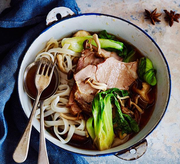 Soy pork with mushrooms
