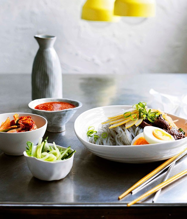 **Korean buckwheat noodles with beef and nashi**