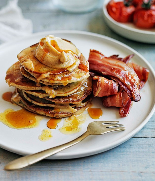 **Buckwheat pikelets with bacon and maple butter**