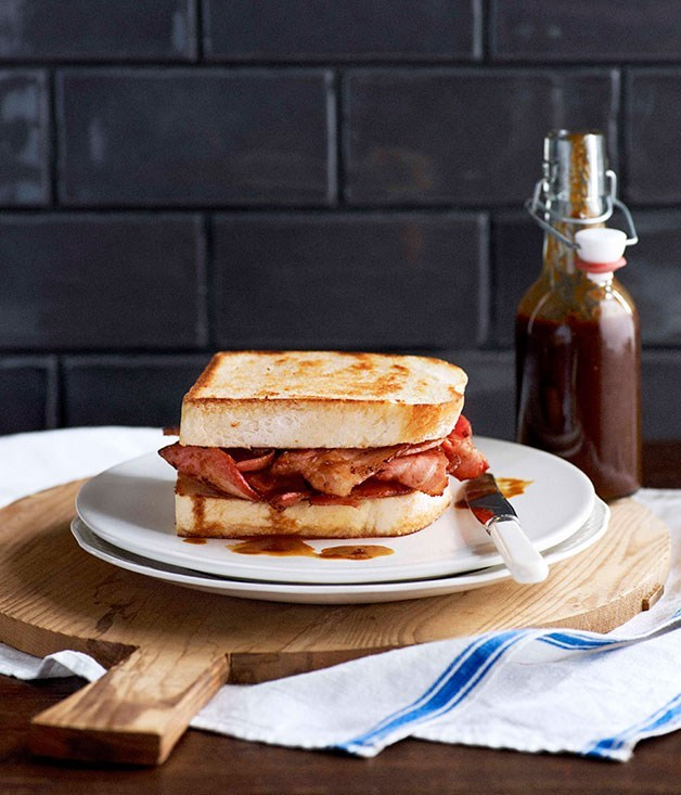 **Bacon butties on white bread with homemade HP**