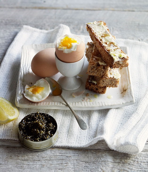 **Eggs, caviar and buttered soldiers**