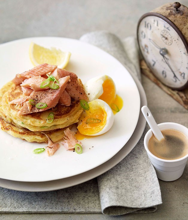 **Leek pikelets with smoked rainbow trout and soft-boiled egg**