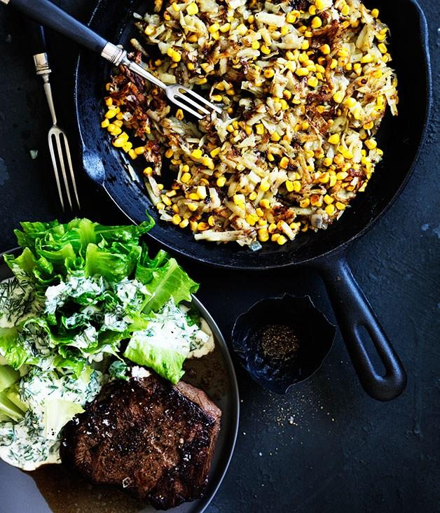 **Southern-style flat-iron with potato and corn hash and baby cos with buttermilk dressing**