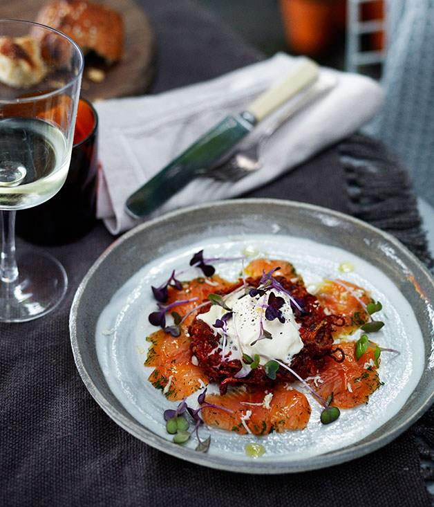 **Dill-cured rainbow trout with beetroot and potato cakes and fresh horseradish**