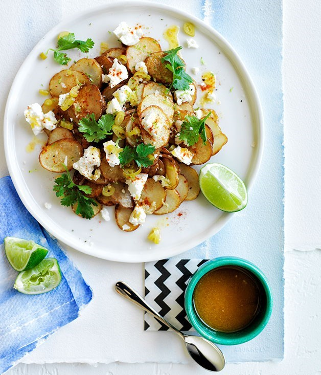 **Warm golden potato salad with lime butter and coriander**