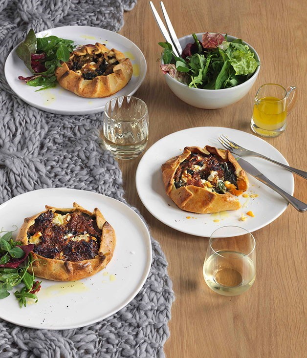 **Sweet potato, silverbeet and goat's feta pies**