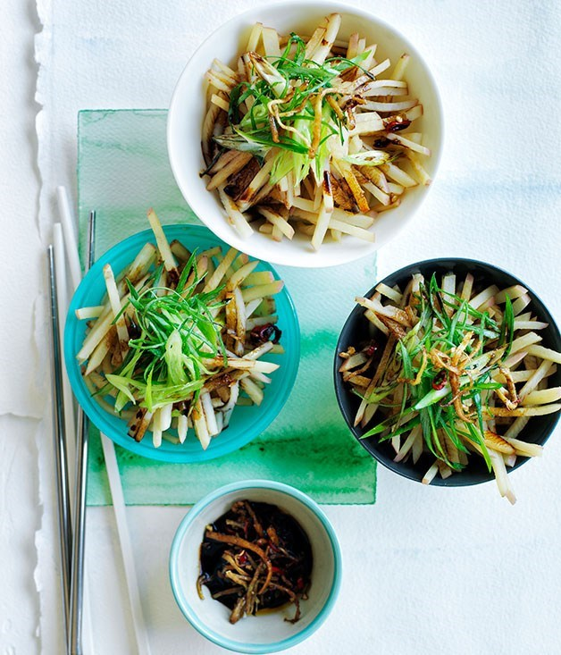 **Chinese-style potato salad with ginger, chilli and spring onion**
