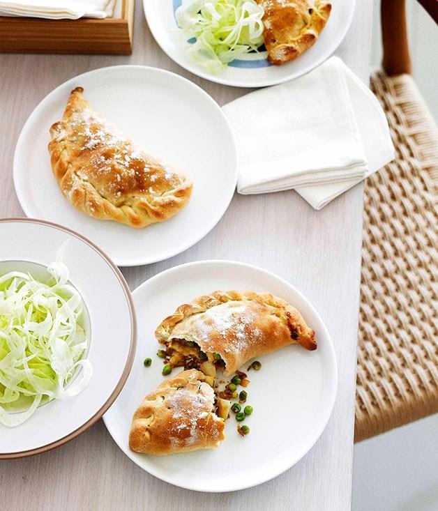 **Caramelised onion, fennel and potato Cornish pies**