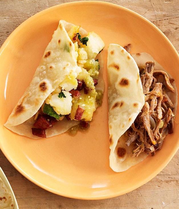 **Potato and chorizo tacos**