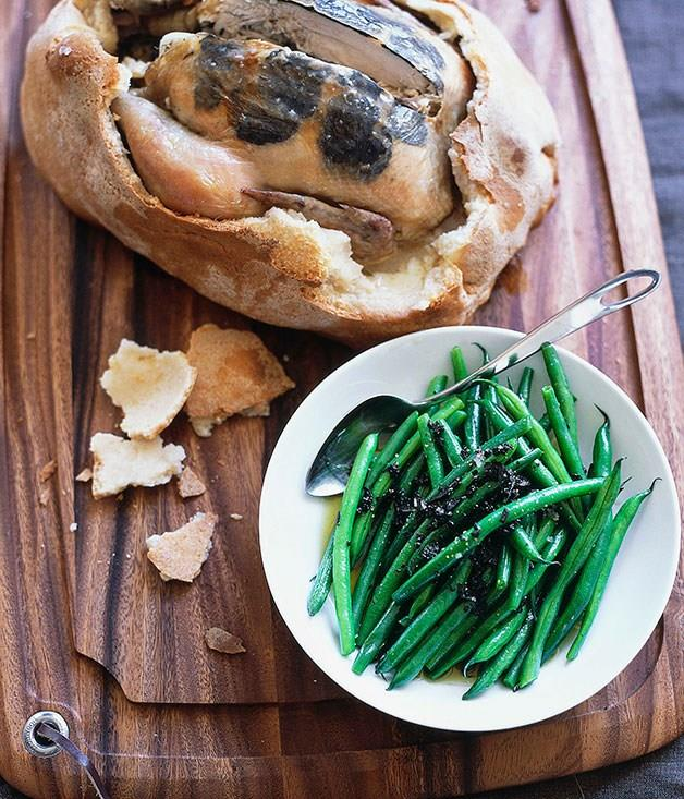 **[Salt-baked truffled chicken with warm green bean and truffle salad](https://www.gourmettraveller.com.au/recipes/browse-all/salt-baked-truffled-chicken-with-warm-green-bean-and-truffle-salad-9709)**