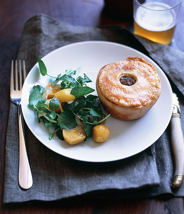 **Truffled pork pies with watercress and beetroot salad**