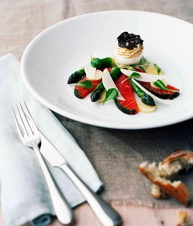 **[Smoked ocean trout with devilled egg](https://www.gourmettraveller.com.au/recipes/chefs-recipes/smoked-ocean-trout-with-devilled-egg-7155)**