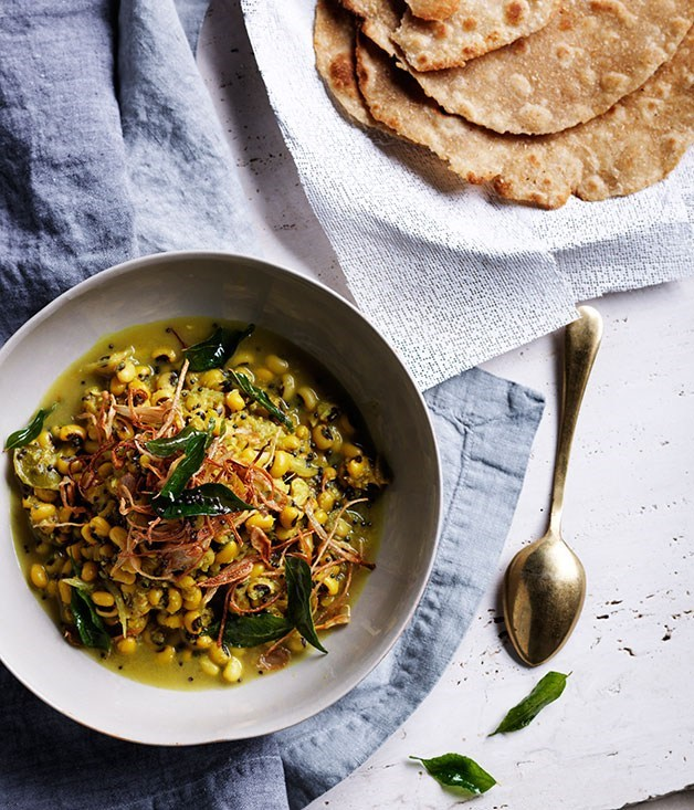 "[**Black-eyed pea curry**](https://www.gourmettraveller.com.au/recipes/browse-all/black-eyed-pea-curry-with-crisp-shallots-and-curry-leaves-11986|target=""_blank"")"