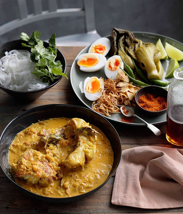 "[**Burmese-style fish curry**](https://www.gourmettraveller.com.au/recipes/browse-all/burmese-style-fish-curry-with-noodles-mustard-greens-and-duck-eggs-10804|target=""_blank"")"