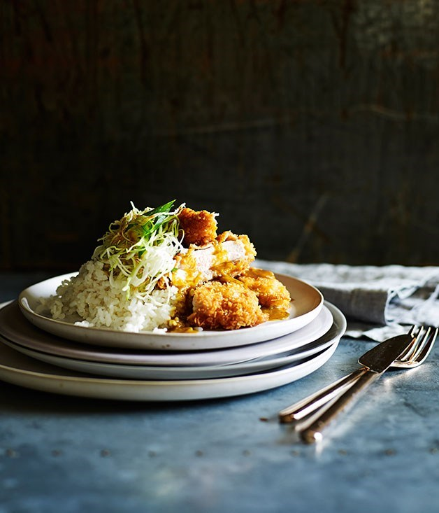 "[**Chicken katsu curry**](https://www.gourmettraveller.com.au/recipes/fast-recipes/chicken-katsu-curry-13479|target=""_blank"")"