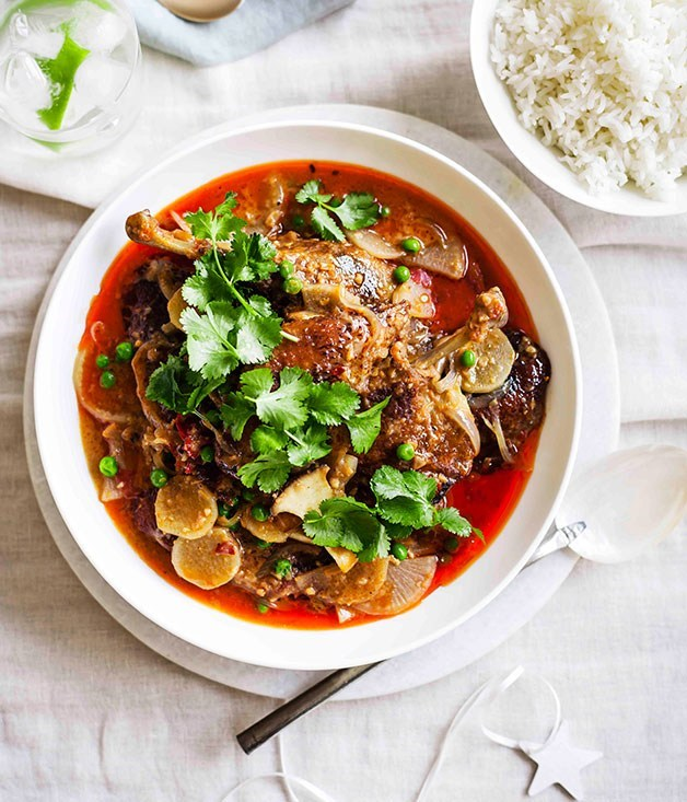 "[**Red duck curry**](https://www.gourmettraveller.com.au/recipes/chefs-recipes/red-duck-curry-9059|target=""_blank"")"