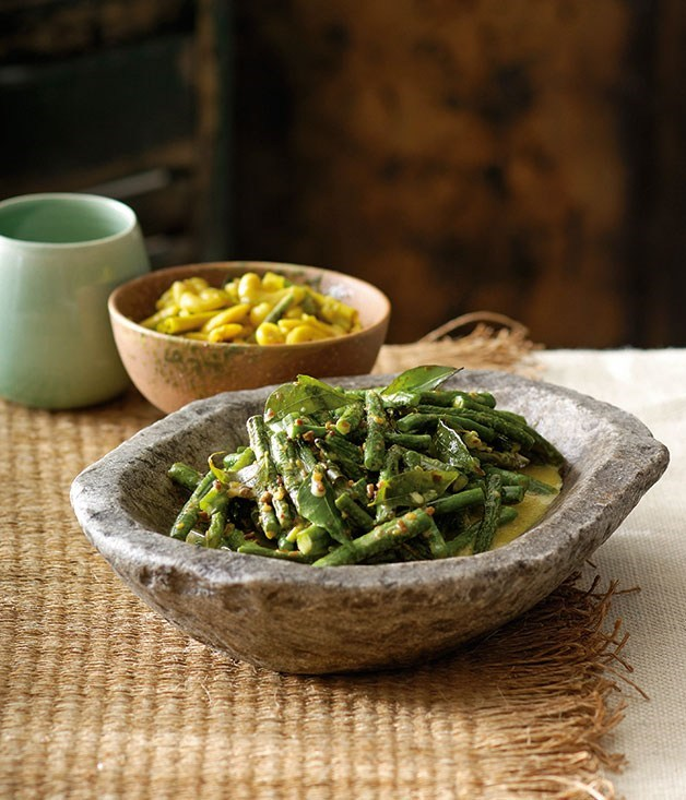"[**Snake bean curry**](https://www.gourmettraveller.com.au/recipes/chefs-recipes/peter-kuruvita-snake-bean-curry-7442|target=""_blank"")"