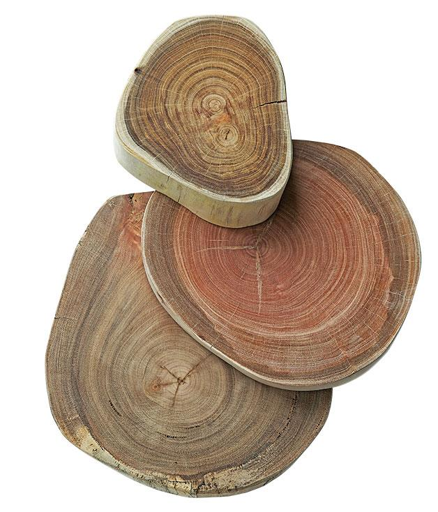 """**Wooden boards from Little Rae** """"Simple and raw - these are great to use as platters for bread, cheese and condiments, or to display a collection of flowers. Yes, I need a few of these."""" From $99 each. Little Rae, Berry, NSW. (02) 4464 2544."""