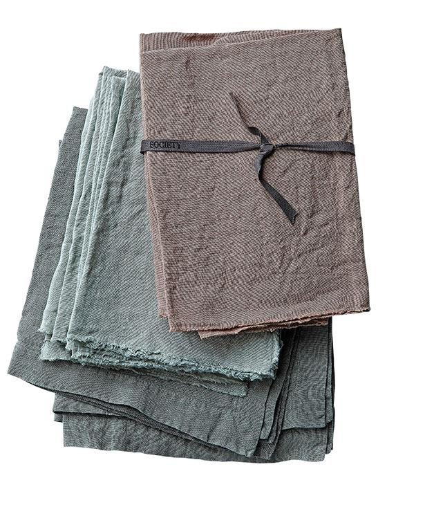 """**LUCY TWEED** Society linen napkins   """"They remind me of a floppy shirt. They're designed to be used (not saved for a special occasion), and designed to be used by food-loving Italians, so despite what feels like a delicate linen thread count, they last and age beautifully."""" Napkins, from $228 for box of six, from [Ondene](http://www.ondene.com.au """"Ondene"""")."""