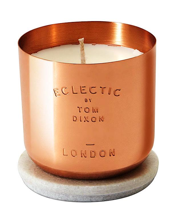 """**Candle by Tom Dixon** """"I love the copper container of this candle, the fragrance and the fact that the marble lid can be used a coaster when the candle is finished. It adds a beautiful gleam to my table."""" """"Eclectic"""" candle, $113, from [Dedece](http://www.dedece.com """"Dedece"""")."""