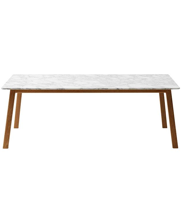 """**Jardan dining table** """"I love the combination of textures in this table, with its marble top and wooden base; it's a little beachy but still sophisticated. I also really like the wear and tear that the marble shows; it feels loved and used. It's really great for rolling out pastry, too. It was a major investment, but one I'm so pleased I made."""" American oak base/Carrara top """"Navy"""" table, $6257 (length 210cm), from [Jardan](http://www.jardan.com.au """"Jardan"""")."""