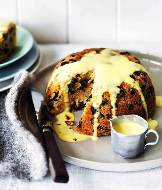 **Chocolate rum and raisin steamed pudding**
