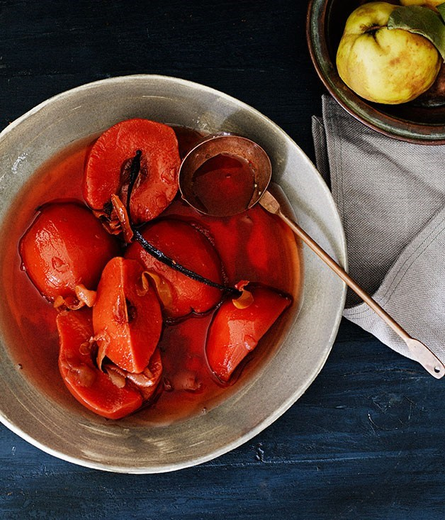 **Slow-poached quince**