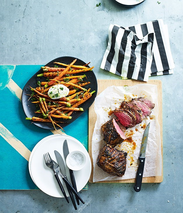 **Coriander and chipotle lamb rump with burnt carrots**
