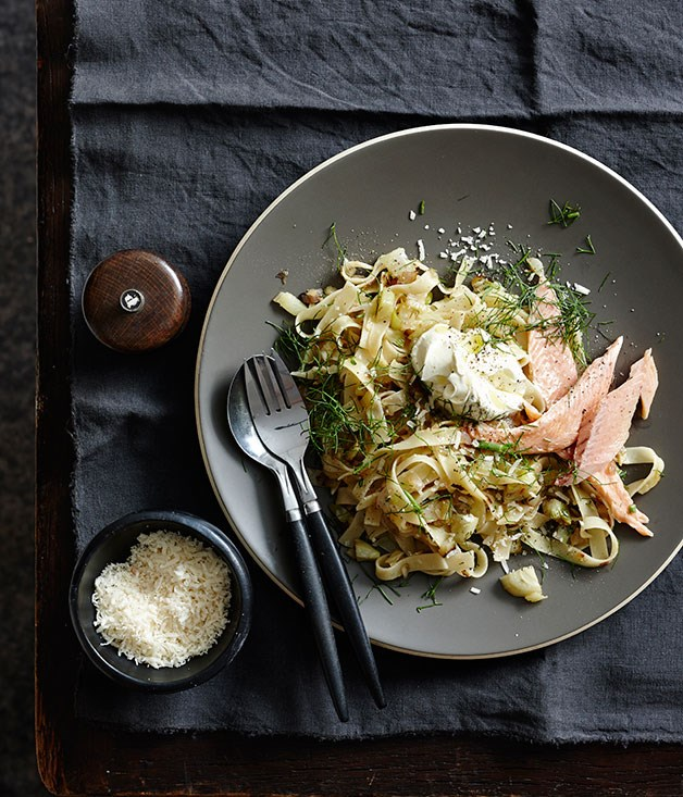 "**[Tagliatelle with caramelised fennel, smoked trout and crème fraîche](https://www.gourmettraveller.com.au/recipes/fast-recipes/tagliatelle-with-caramelised-fennel-smoked-trout-and-creme-fraiche-13492|target=""_blank"")**"