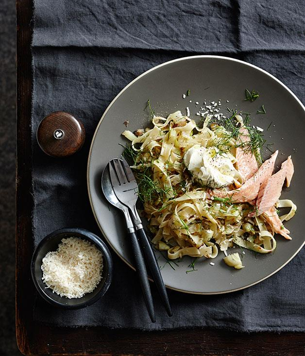 "[**Tagliatelle with caramelised fennel, smoked trout and crème fraîche**](https://www.gourmettraveller.com.au/recipes/fast-recipes/tagliatelle-with-caramelised-fennel-smoked-trout-and-creme-fraiche-13492|target=""_blank"")"