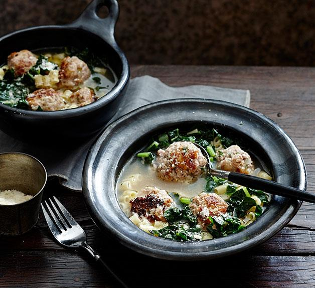 Veal and parmesan meatballs in broth with ditalini