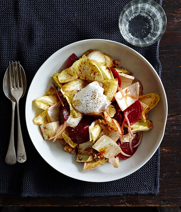 Beetroot, walnut and endive with pomegranate dressing