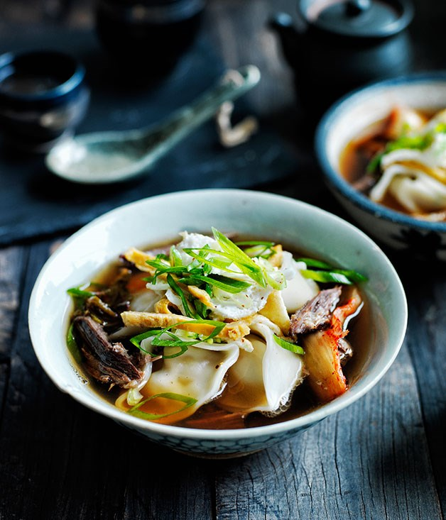 "[**Kimchi mandu in broth**](https://www.gourmettraveller.com.au/recipes/browse-all/kimchi-mandu-in-broth-12012|target=""_blank"")"