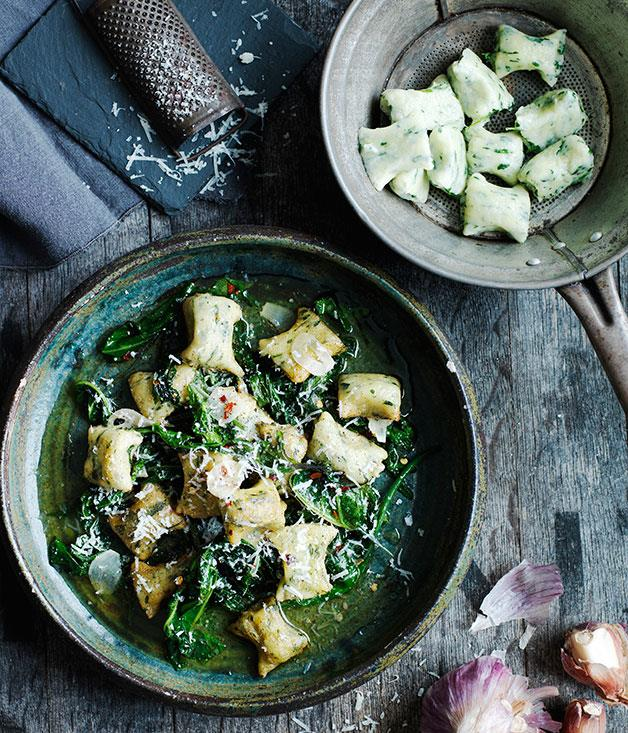 "**[Gnudi with wilted bitter greens](https://www.gourmettraveller.com.au/recipes/browse-all/gnudi-with-wilted-bitter-greens-13977|target=""_blank"")**"