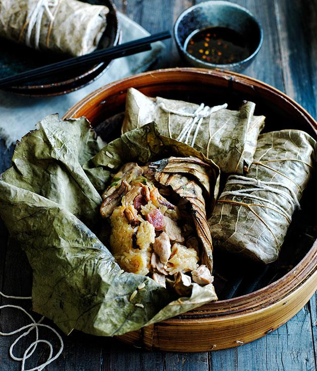 "[Sticky rice lotus dumplings with roast chilli vinegar](http://www.gourmettraveller.com.au/recipes/browse-all/sticky-rice-lotus-dumplings-with-roast-chilli-vinegar-12015|target=""_blank"")"